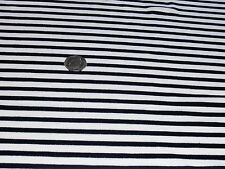 POLY/COTTON JERSEY NARROW STRIPE -WHITE/BLACK -DRESS FABRIC(FREEE P&P UK ONLY)
