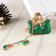 Two Green Handbag High Heel Shoe Fashion Charm Crystal Purse Key Ring Chain Gift
