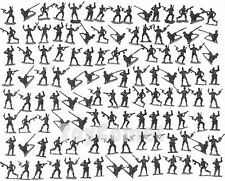 120 pcs Military Plastic Toy Soldiers  Army Men Green 4cm Figure 6 Poses