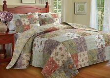 BEAUTIFUL OVERSIZE ANTIQUE COUNTRY GREEN BLUE PATCHWORK BEDSPREAD QUILT SET KING