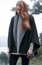 NWT $ 558 Eileen Fisher Charcoal Baby Alpaca Doubleface Poncho with pin size M/L