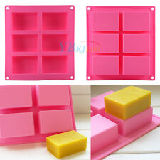 6-Cavity Plain Rectangle Soap Mold Silicone Craft DIY Making Homemade Cake Mould