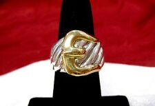 DAVID YURMAN 925 STERLING SILVER & 18K YELLOW GOLD CABLE BELT BUCKLE RING SIZE 6