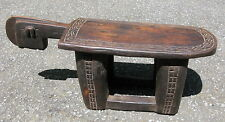 Vintage African stool hand carved wood Lobi People Burkina Faso human head #4673