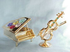 24K GOLD PLATED GRAND PIANO + VIOLINE SWAROVSKI CRYSTAL SOUVENIR FROM DUBAI UAE