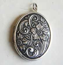NWT Catherine Popesco Large Flower Vintage Silver French Locket Made Paris