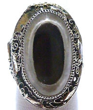 ANTIQUE CHINESE EXPORT STERLING SILVER FILIGREE CRYSTAL SMOKY TOPAZ RING SZ 5.25