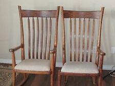 Greg Aanes Brenden Rocking Chairs - Rare Deluxe Matched Pair Fine English Walnut
