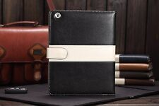 iPad 2/3/4 Case Black Luxury Leather with Magnetic Closure