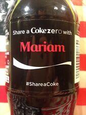 Share A Coke With Mariam Coke Zero Limited Edition Coca Cola Bottle 2014 USA