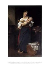 FIRST CARESS by Adolphe-William Bouguereau: 8x10 In.Art Print