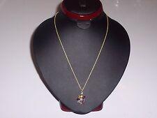 18K vermeil gemstone diamond flower pendant with garnet citrine amethyst & topaz