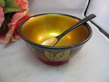 Vtg hand painted USSR Russian wood lacquer ware bowl w/ spoon. Black, red, gold
