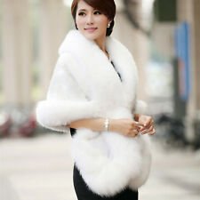 Luxury Womens Ladies Faux Mink Cashmere Wedding Winter Long Fur Coat Shawl Cape