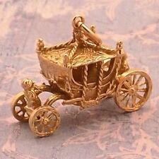 VINTAGE ~ MOVABLE 14K GOLD ~ CINDERELLA'S COACH / CARRIAGE ~ CHARM