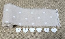 1.5M x 6cm Natural Jute Hessian Ribbon White Hearts Trim Rustic Wedding Buttons