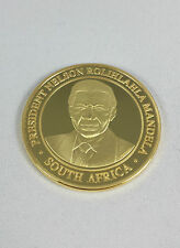 1 oz Goldmeadaillie with 999 Gold plated President Nelson Mandela South africa
