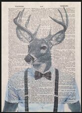 Stag Deer Head Print Vintage Dictionary Wall Art Picture Grey Tartan Hipster