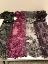 """4 PIECE ASSORTED EMBROIDERY SEQUINS HAND BEADED LACE FABRIC 52"""" WIDE EACH PC 1/4"""