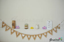 Just Married Hessian Bunting Rustic Burlap Wedding Bride Garland Banner Lace