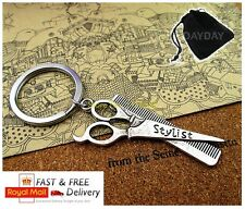 Hair dresser stylist keyring keychain scissors comb brush barber gift for her