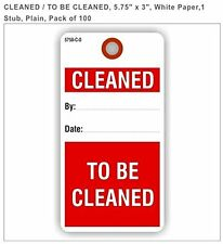 "CLEANED/TO BE CLEANED, 5.75"" X 3"", White Paper, 1 stub, plain, pack of 100"