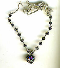 """925 Sterling Silver Marcasite & Amethyst Heart Necklace   18"""""""