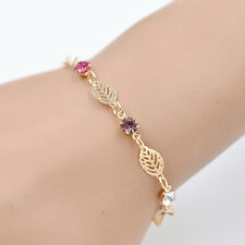 Chic Simple Retro Women Girl Jewelry Rhinestone Leaf Chain Bracelet Bangle New