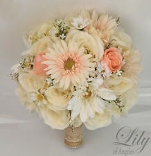 17 Piece Package Silk Flower Wedding Bridal Bouquet CREAM PEACH CHAMPAGNE Rustic