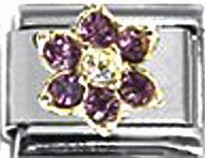 Italian Charm 9mm Birthstone February Flower