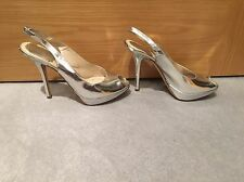 Christian Dior Silver Peep Toe Sling back High Heel Shoes/37