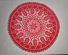 Crochet doily lace round red floral pattern 49 cm (19 inch) handmade 100% cotton