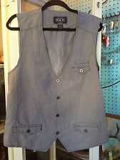 BUCKLE BLACK gray Linen Look Vest Waistcoat - Slim Fit XL Men's  - COOL details!