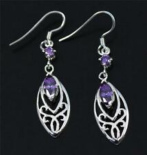 Purple Amethyst, Solid 925 Sterling Silver Drop / Dangle Earrings jewellery