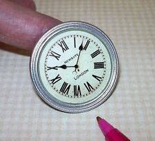 Miniature EXTRA LARGE (1/6 Barbie Playscale) Silver Industrial Clock DOLLHOUSE