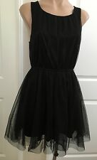 H&M DIVIDED Fashion Women's TULLE TEA DRESS Sleeveless Black sz 8 ( S )