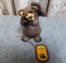 "RICK ROWLEY THE LOST WOODSMAN STUDIO RESIN BEAR FIGURE ""BEARY CONFUSED"" NEW"