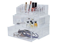 LARGE ACRYLIC 4 DRAWER MAKEUP JEWELERY COSMETIC STORAGE DISPLAY ORGANISER HOLDER