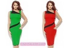 Women Vintage Rockabilly Colorblock Bodycon Fitted Party Shift  Sheath Dress