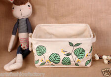 Collapsible Linen Storage Bucket Bin Basket Basket box w Totes Green Leaves