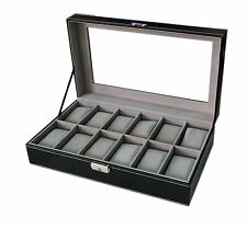 12 Slot Black Watch Box Solid Wood Display Case Leather Organizer Top Glass NEW