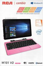 "NEW RCA Cambio 10.1"" 2-in-1 Tablet 32GB Intel Quad Core 1.83Ghz Windows10 PInk"