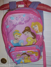 DISNEY PRINCESS PINK BACKPACK~NEW~W/ LUNCH BOX TOTE CARRY PURSE~CINDERELLA~BELLE