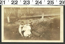 VINTAGE OLD B&W PHOTO 2 BROTHERS HOLDING THEIR BABY BROTHER OR SISTER #2700