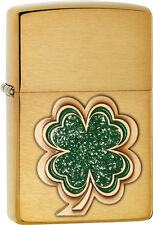 Zippo Choice Brushed Brass with Green Clover WindProof Lighter 28806 NEW