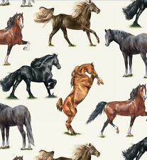 Fat Quarter Horse Breeds Horses 100% Cotton Quilting Fabric Elizabeth's Studio