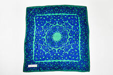 Yves Saint Laurent Blue Green Silk Abstract Print Square Scarf