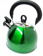 2.5L Stainless Steel Whistling Kettle Green Camping Caravanning Stove 1157C