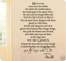 "36"" Here's To The Crazy Ones Genius Steve Jobs Wall Decal Sticker Quote Apple"