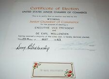 Wyoming Junior Chamber Commerce Election Certificate 1963 United States US WY